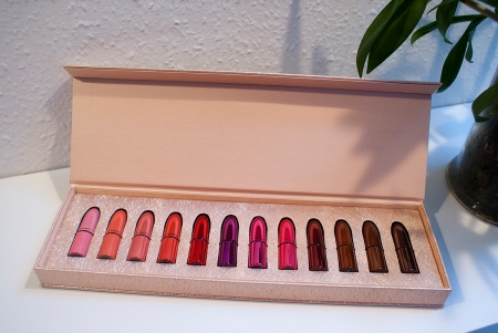 Mac Snow Ball Mini Lipsticks Kit Review and Swatches - 12 brightly coloured lipsticks in a case